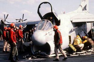 A-7 Corsair emergency barricade landing with live ordnance aboard