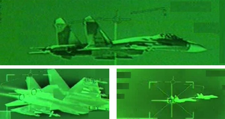 Canadian CF-18 Hornet intercept Russian Su-27 fighter jet