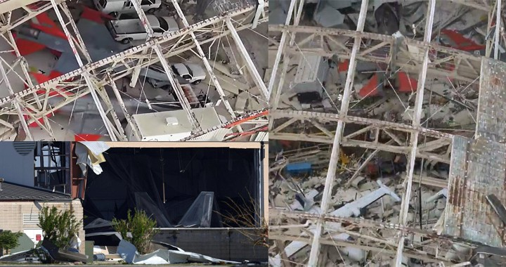 Hurricane Michael hit U.S.A.F Tyndall: Two F-16 & two F-22 can be spotted in a roofless hangar