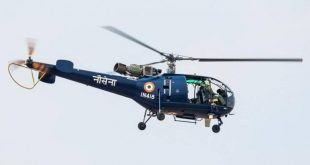 Indian Navy Chetak helicopter crashes on a training sortie