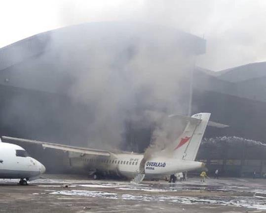 Overland Airways plane damage after a fire erupted during maintenance
