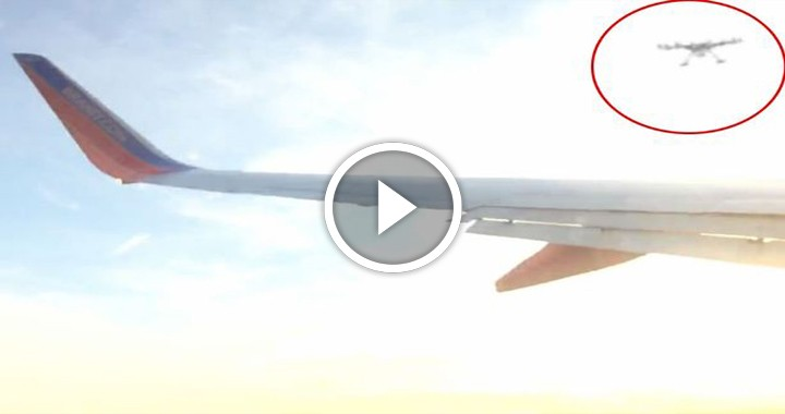 Quadcopter strikes the wing of an aircraft at an impact speed of 238 mph.