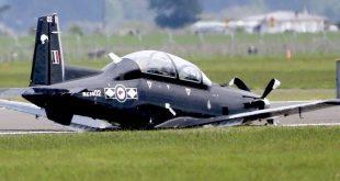 RNZAF T-6C Texan II made a belly landing after landing gear malfunction