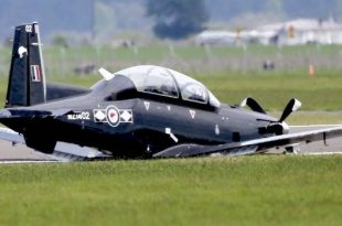 RNZAF T-6C Texan II made a belly landing after landing gear malfunction