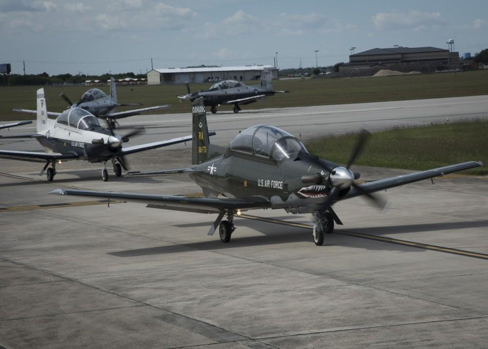 """T-6 Texan II Aircraft """"Elephant Walk""""at JBSA Texas"""