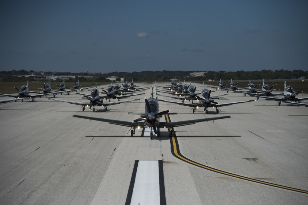 "T-6 Texan IIs from the 559th Flying Training Squadron and the 39th FTS participated in an ""Elephant Walk"" Oct. 26, 2018, at Joint Base San Antonio-Randolph, Texas. Image credit Airman Shelby Pruitt"