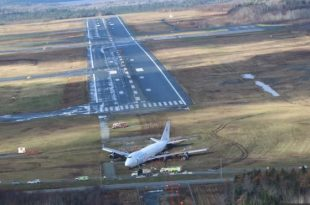 Boeing 747-400F suffered a runway excursion after landing