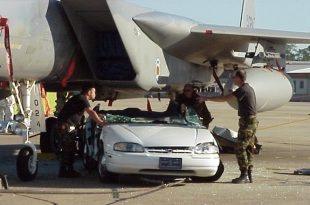F-15 Fighter jet crashed into police car due to the inattention of security guard at Eglin AFB