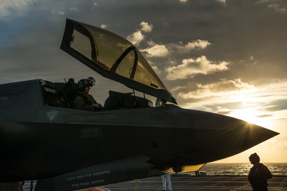 Royal Air Force Squadron Leader Andy Edgell, First of Class Flight Trials (Fixed Wing) lead test pilot with the F-35 Pax River Integrated Test Force, continues FOCFT(FW) developmental test flights aboard HMS Queen Elizabeth on Oct. 12, 2018.