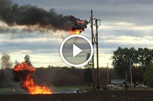 Helicopter hits power, burns, and crashes - 2 killed, 2 survive