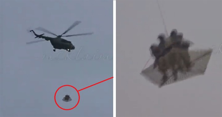 Mysterious helicopters with live soldiers as external load were spotted in Moscow