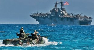 Two Iranian fast boats approached the US Wasp-class amphibious assault ship