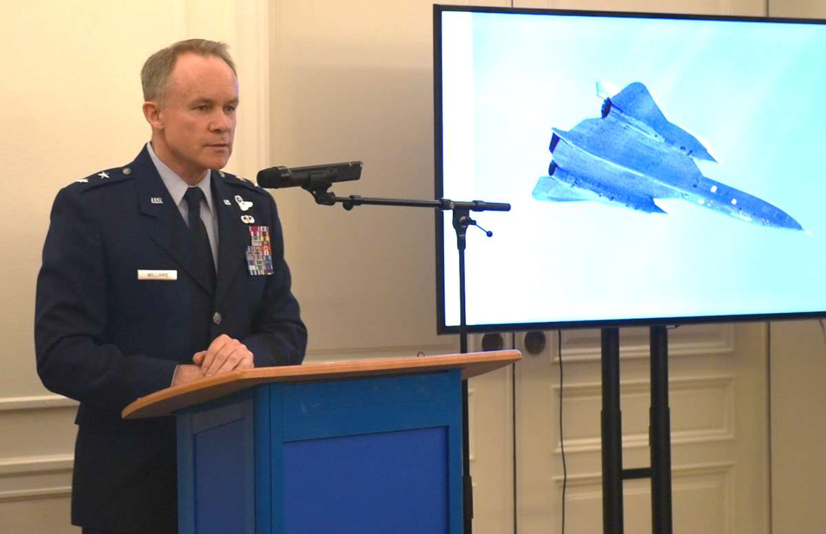 U.S. Air Force Major General John Williams speaks during the medal ceremony in Stockholm.