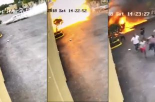 Surveillance camera captures video of plane crashing into building, 4 Dead