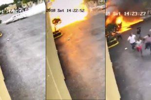 Surveillance camera captures video of plane crashing into building, 4 Dead