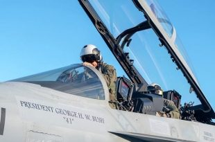 Navy Hornet inscribed With George Bush's Name To Lead 21 Jet Largest Ever Missing Man Formation