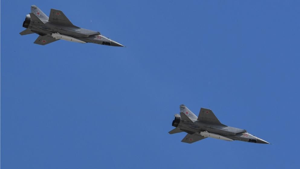 Russian Fighter jets practiced destroying 'enemy's intruder aircraft' at drills
