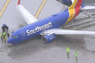 Southwest Airlines plane skids off the runway while landing in California