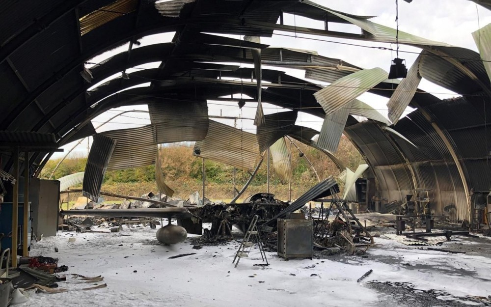 Two Historic de Havilland Vampire destroyed in a hangar fire