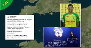 Cardiff striker Emiliano Sala feared dead after plane crash