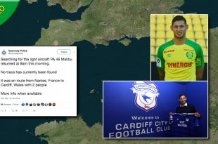Cardiff striker Emiliano Sala feared dead after plane crash
