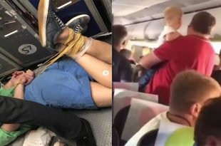 Watch: Passenger HOG-TIED for four hours mid-flight after 'violent' rampage