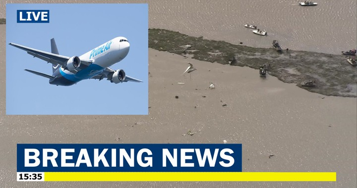 A Boeing 767 cargo jet nose-dived into Trinity Bay, 3 crew