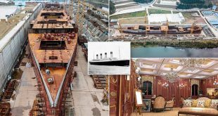 Aerial photographs reveal how China builds £125m FULL-SIZE Titanic replica using the ship's original blueprints