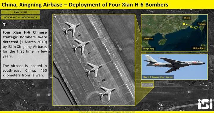 Satellite imagery shows China deployed Four H-6 strategic bombers near Taiwan coasts