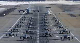 "Two Dozen F-22 Raptors Perform ""Elephant Walk"" to demonstrate massive show of force"
