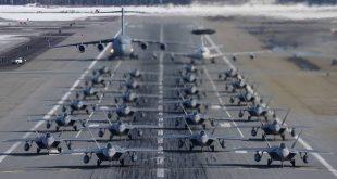 "Two Dozen F-22 Raptors Perform ""Elephant Walk"" to demonstrate massive show of force"