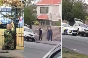 Watch hero cop armed with just a handgun took down 'terrorist' Christchurch mosque massacre