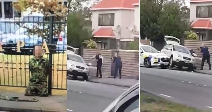 Watch hero cop armed with just a handgun took down 'terrorist' Christchurch mosque massacre