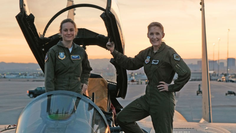 Brig. Gen. Jeannie Leavitt with captain marvel