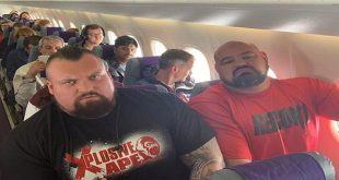 Two World's Strongest Man champions were Squeezed into economy seats on a plane