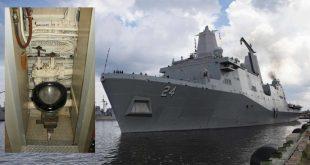 A hidden camera found in a women's bathroom on a USS Arlington warship