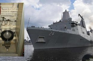 A hidden camera found in a women's bathroom on a USS Arlington warship