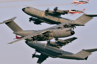 Amazing Shot of 3 Airbus A400M Atlas & 3 Pilatus PC-7s from The LIMA 19
