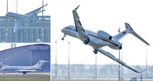German Air Force Global 5000 aircraft Wings HIT the Runway during emergency landing