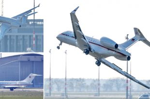 German Air Force Global 5000 aircraft Wings HIT the Runway during emergency landing
