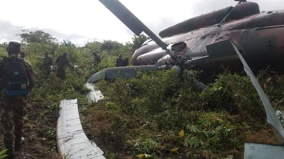 Mozambique Air Force Mi-8 Helicopter crashes in Mueda, Cabo Delgado