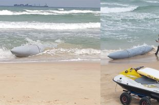 Mystery external fuel tank of Fighter jet washed up on coast of Israel
