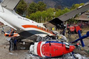 Summit Air plane collided with helicopter during a takeoff at Lukla Airport, 3 killed & 4 injured