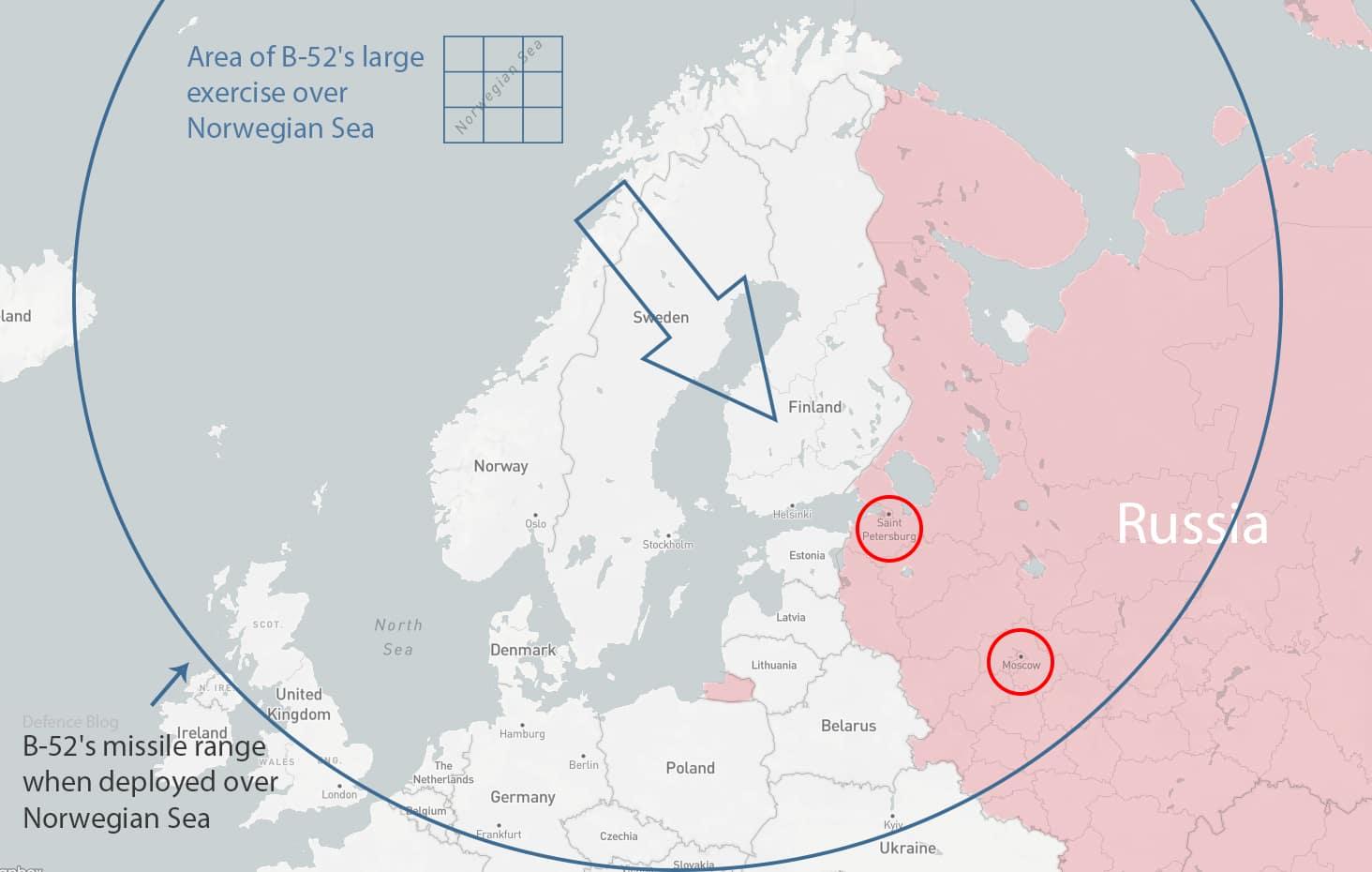 Five U.S. B-52 bombers simulated mock nuclear strike against targets in Russia