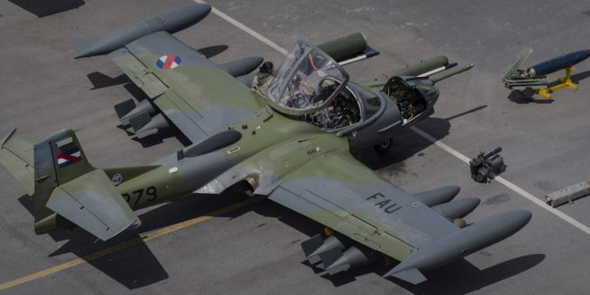 Uruguayan Air Force Cessna A-37B Dragonfly suffered a tire blowout during landing