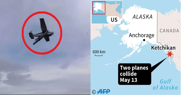 5 dead & 10 injured after a mid-air collision between two float-planes in Alaska