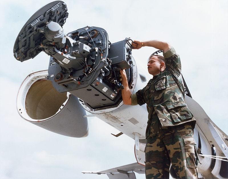 AN/APG-65 radar installed in an F/A-18 Hornet.