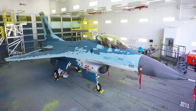 Navy FA-18D and Air Force F-16C painted in Russian Su-57-Like Ghost color Scheme