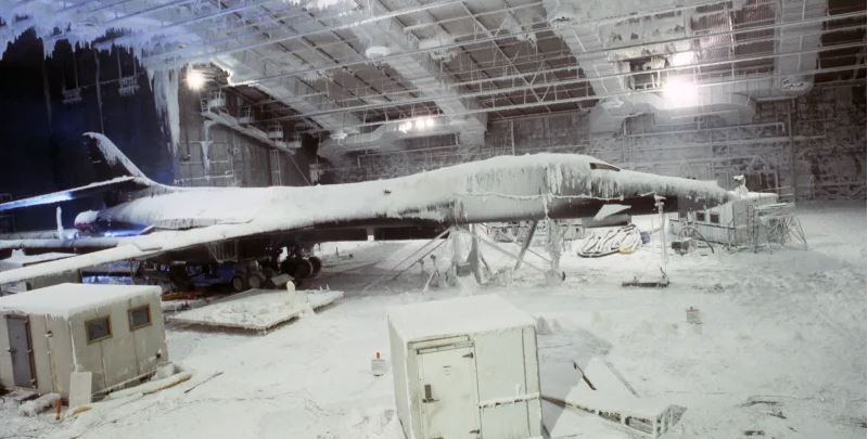 B-1B supersonic bomber aircraft undergo simulated arctic weather conditions during environmental testing in the main chamber of the McKinley Climatic Laboratory