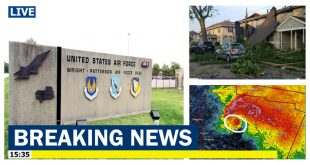 Destructive tornado strikes nearby Wright Patterson U.S. Air Force Base In Ohio